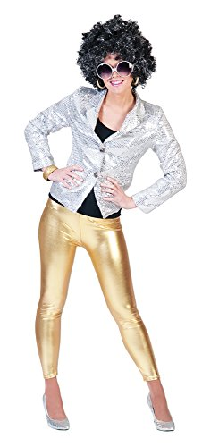 Metallic Leggings für Damen - Gold - zu Show Party Space 80er Jahre - Metallic Leggings Kostüm