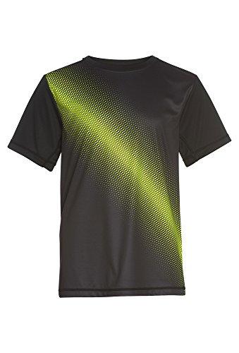 Rossi Jungen Funktionsshirt - Sport Sportshirt T-Shirt Kurzarm Rundhals Schnell Trocknend Quick Dry Kurzarmshirt Fitness Print Schwarz,134/40
