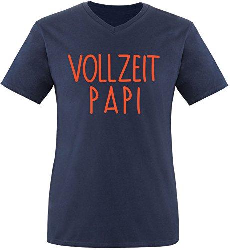 EZYshirt® Vollzeit Papi Herren V-Neck T-Shirt Navy/Orange