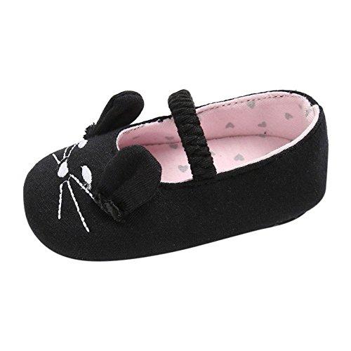 Weixinbuy Baby Mädchen Weiche Rutschfeste Erste Wanderer Schuhe Nette Katze Mary Jane Flats (Jane Katze Mary Schwarze)