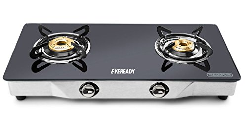 Eveready TGC2B DX Glass Top 2 Burner Gas Stove - Black