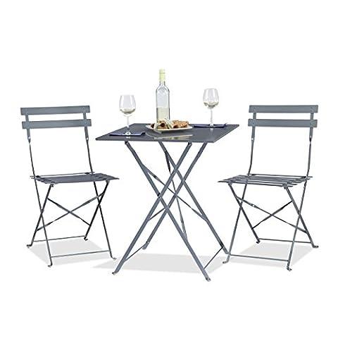 Relaxdays Ensemble table et chaises de bistrot pliants en 60