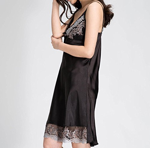 Ms. Bretelle Di Seta Del V-collo Pigiami Camicie Da Notte Black