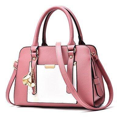 Damenmode PU Leder Spleißen Schulter Messenger Crossbody-tasche/Handtasche Tote Blushing Pink