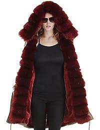 Abrigo de mujer Roiii con capucha, pelo sintético, estilo informal, talla 38 a