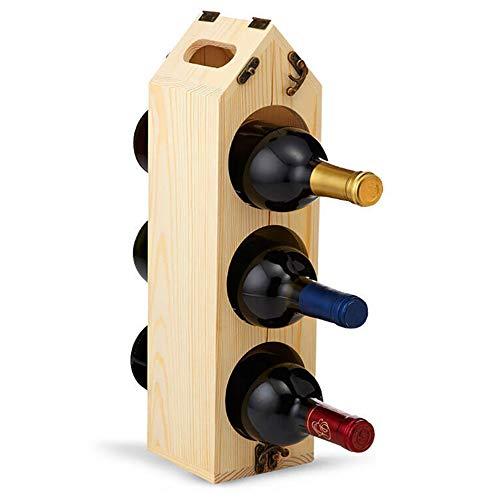 Hyl Support à Vin Pliant Casier à Bouteille Portable Bois à Bouteille Metal Le Super Autoportant Joli Bar à vin Cave Cabinet sous-cellier Cuisine pouvant contenir Jusqu à 6 Bouteilles