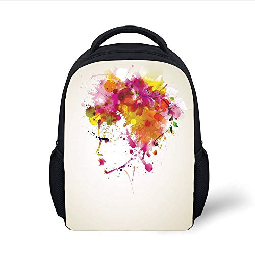 Kids School Backpack Abstract,Watercolor Portrait of a Woman with Artsy Floral Hairstyle Paint Splatters Decorative,Orange Pink Green Plain Bookbag Travel Daypack