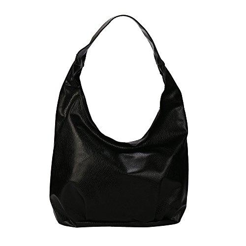 Ansenesna Handtaschen Damen Schwarz Mittelgroß Leder Vintage Taschen Frauen Wasserdicht Elegant Tragetaschen (Schwarz)