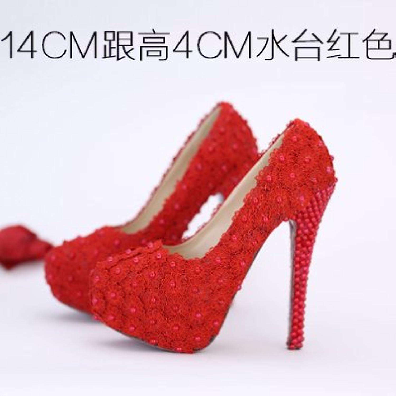 VIVIOO Prom Sandals Wedding scarpe,bianca Flowers Lace Waterproof High-Heeled,Pearl rosso scarpe rosa Coloree Bridal... | diversità imballaggio  | Gentiluomo/Signora Scarpa