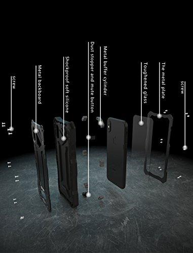 Custodia per iPhone x, r-just marca TPU silicone bumper in alluminio antiurto impermeabile contro lo sporco resistente duro resistente custodia cover per iPhone x con Built-in protezione dello schermo Blue