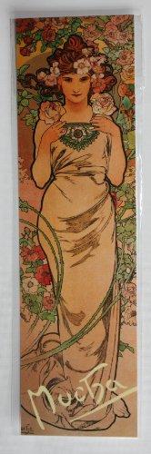 Jugendstil Lesezeichen, Rose Aus Dem Jahre 1898 von Alphonse Mucha Kunstdruck, Im Art Nouveau