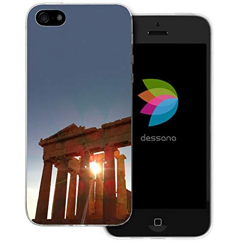 dessana Griechenland Transparente Silikon TPU Schutzhülle 0,7mm dünne Handy Tasche Soft Case für Apple iPhone 5/5S/SE Akropolis Athen