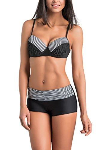 Gwinner Damen Bikini - Badeoutfit - Zweiteilig Mit Verlängerten Beinen - Widerstandsfähig Gegen Chlor Und UV - #Gwn Tamara Schwarz/weiß