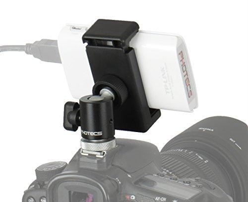 Photecs® Blitzschuh Adapter Set V6, Phone Clip klemmt Geräte von 55-85mm, Befestigung von Smartphone etc. auf Standard-Blitzschuh und an 1/4 oder 3/8 Zoll Gewinde