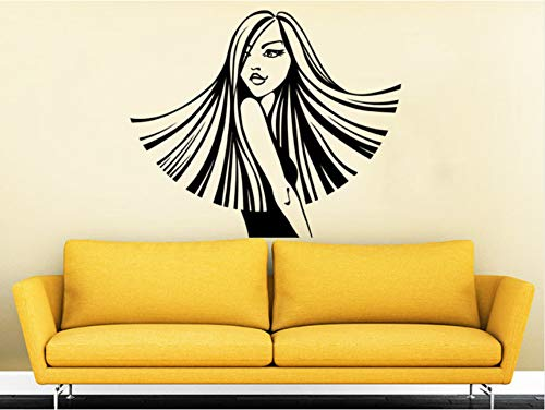 Wuyyii Cool Cosmetic Girl Face Beauty Salon Wandtattoo Vinyl Aufkleber Für Haarschnitt Friseur Mode Make-Up Girl Interior Decorsyy566