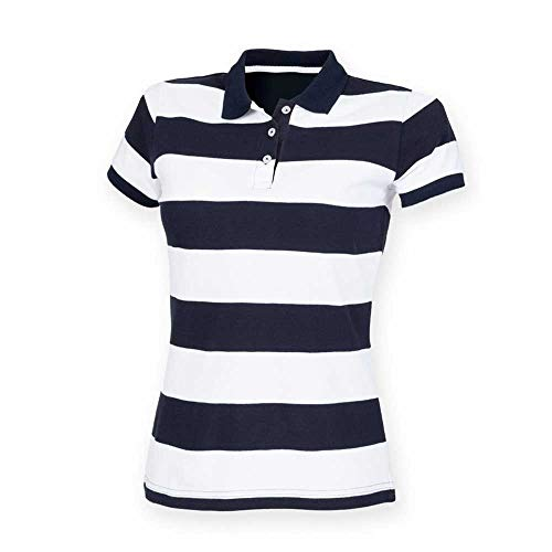 Front Row Womens Striped Pique Polo Shirt -