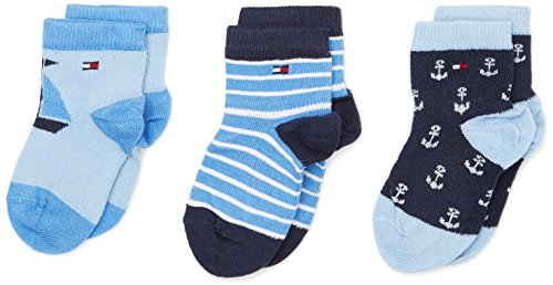 Tommy Hilfiger Baby-Jungen Socken TH HI Sailor Giftbox 3P, 3er Pack, Blau (Baby 397), 15-18