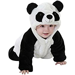 Katara 1778 - Kigurumi Mameluco Disfraz Infantil - Bebé 12-18 Meses, Oso Panda Negro-Blanco