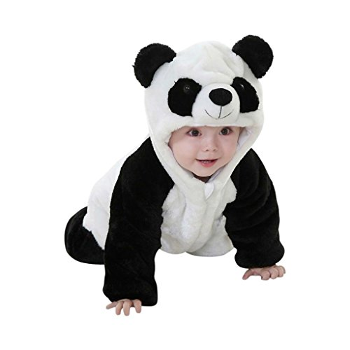 Katara 1778 - Kigurumi Mameluco Disfraz Infantil - Bebé 6-12 Meses, Oso Panda Negro-Blanco