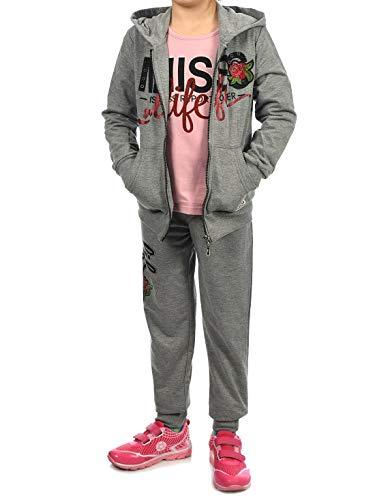 Sweat Anzug Kostüm - Kinder Mädchen Sport-Anzug Sweat-Jacke Pullover Langarm-Shirt Freizeit-Hose (3 TLG. Set) 30018 Grau 152