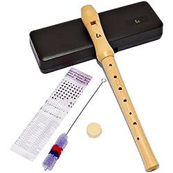 ts-ideen 6069 C - Flauta dulce (do soprano, madera de arce, digitación alemana, incluye estuche y accesorios)