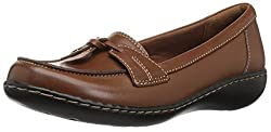 Clarks Womens Ashland Bubble Slip-On Loafer, Tan Leather, 12 M US