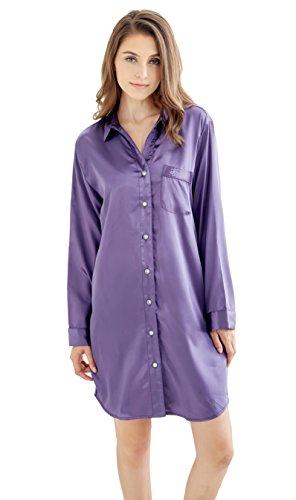 Damen Nachthemd Negligee, Nachtwäsche Nachtkleid, Satin Schlafhemd Schlafanzug, Langarm Sleepwear von Tony & Candice (L=EU (44-46), Lila)