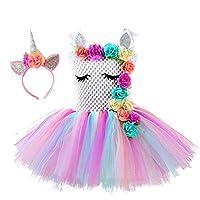 Girls Unicorn Princess Rainbow-colored Tutu Dress for Girls Birthday Party, Halloween Unicorn Costume or Everyday Unicorn Themed Dress Up Occasions