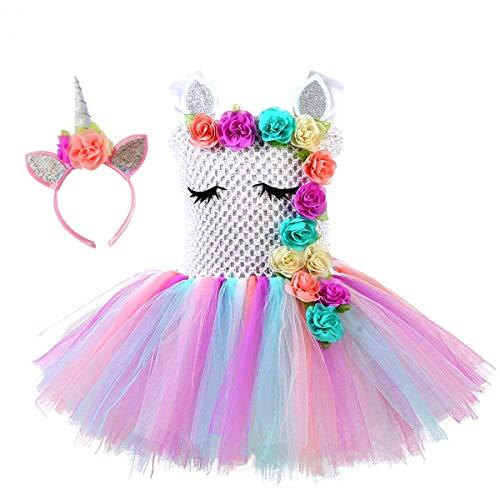Vestido de tutú de princesa de unicornio para niñas, color arcoíris, para fiesta de cumpleaños, disfraz de unicornio de Halloween o para ocasiones de disfraces temáticas de unicornio diarias