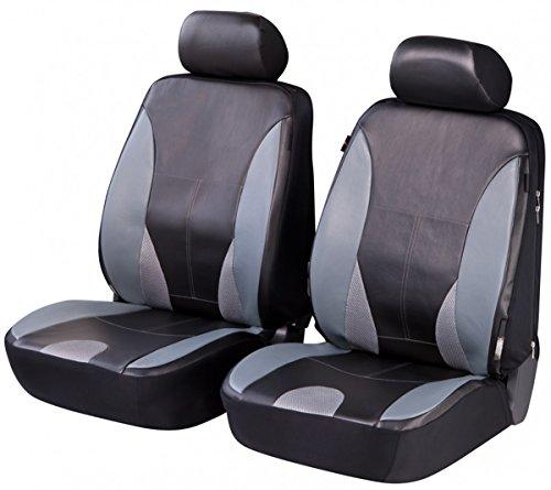 Preisvergleich Produktbild Timon 67686,  Sitzbezug Schonbezug Autositzbezug,  Kunstleder,  Vordersitzbezüge,  Schwarz,  Grau