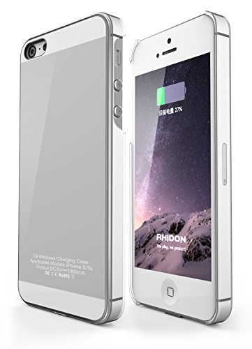 iPhone 5S Hülle, Rhidon Wireless Qi Ladegerät Wireless Charger case Flexibles Lightning Stecker für iPhone 5/5S/SE (Silber)