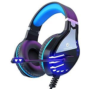 VersionTECH. Gaming-Kopfhörer Stereo für PS4 Xbox One, kabelgebunden, für PC Blue-2.
