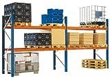 Palettenregal, 1 Grund + 2 Anbau, 2 Trägerebenen, Traglast 2000 kg/Ebene BxTxH 8500x1100x2730 mm