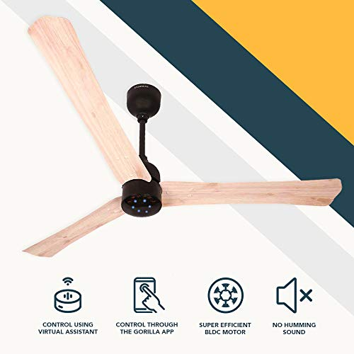 Atomberg Renesa Smart + 1200 mm BLDC Motor with Remote 3 Blade Ceiling Fan(Natural Oak Wood, Pack of 1)
