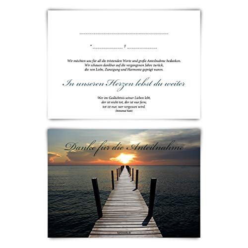 Trauerkarten Trauer Danksagungen 12 Stück Karten Set - Lichtsteg Vorausgefüllt