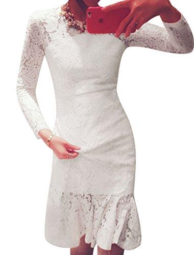 Manches longues pour femme Col rond Dentelle robe avec ourlet Flouncing boutons Blanc