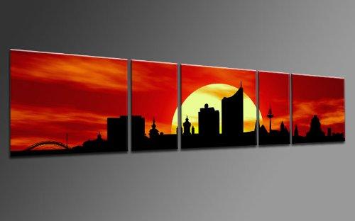 TOP Bild auf Leinwand CITY PANORAMA STYLE LEIPZIG SUN ROT 5 TEILE DIGITAL Arts AP500169 Bilder fertig bespannt auf Keilrahmen. Kunstwerk als Wandbild auf Rahmen.Wohnzimmer, BÜRO GÜNSTIGER ALS Ölbild Gemälde Poster Plakat mit Bilderrahmen! MADE IN GERMANY