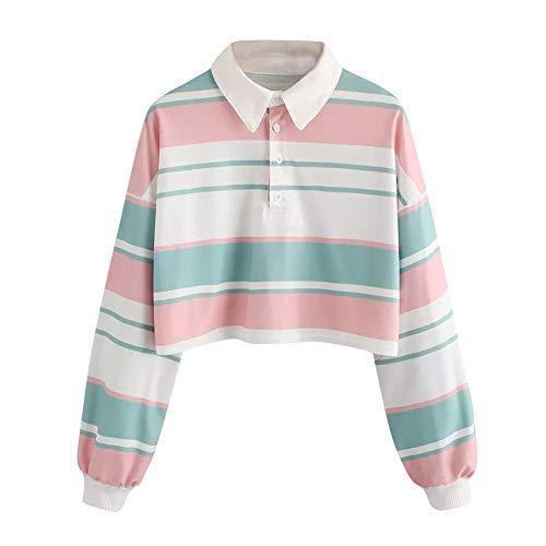 iHENGH Karnevalsaktion Weihnachten Damen Damen Casual Drop Schulter gestreiftes Crop Pullover Sweatshirt Top ()