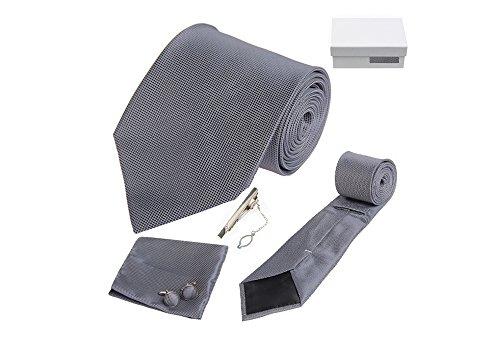 Coffret Adélaïde - Cravate gris anthracite, boutons de manchette, pince à cravate, pochette de costume