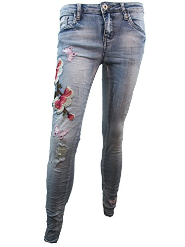 Lexxury Damen Stretch Jeans Röhre Skinny Butterfly Flower Stick (XS-34, Denim Stone Washed) - Skinny-sticks
