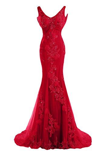 Sunvary Romantisch Neu Lang Blumen Spitze Mermaid Traeger Abendkleid Ballkleider Rot