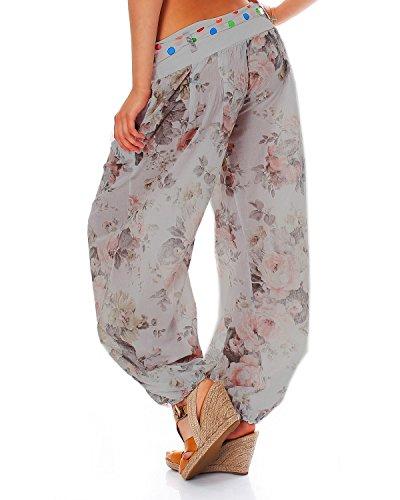 MODA ITALY Les dames pantalon en ballon le pantalon dété avec la ceinture de matière des fleurs floral Gris
