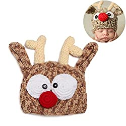 Kylewo Fotografie Baby Hüte, Baby Mütze Baby handgemachte Strickmütze häkeln Stricken Rentier Geweih Hut Halloween Weihnachten Hut Fotografie Prop Hüte