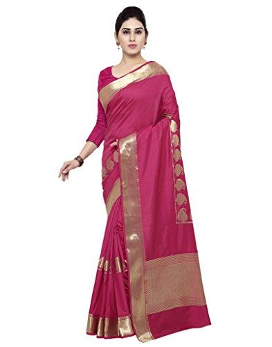 Varkala Silk Sarees Women's Art Silk Paithani Saree With Blouse Piece(JB5007RNRD_Pink_Free Size)