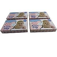 DIVCHI - Bolsas desechables para pañales de bebé, con dispensador antibacteriano y perfumado, fácil de atar para viajes, paquete de 4 x 200 (800 en total)
