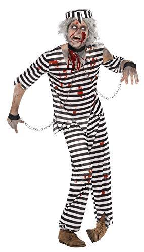 Smiffys Herren Zombie-Sträfling Kostüm, Oberteil, Hose, Mütze und Ketten-Handschellen, Größe: M, 24347
