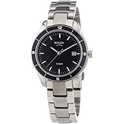 Boccia Women's Quartz Watch with Black Dial Analogue Display and Silver Titanium Bracelet B3225-03