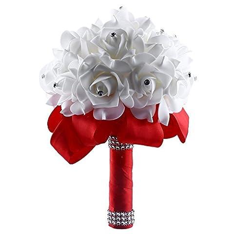 Bride Bouquet, Soledi White Crystal Roses Pearl Bridal Bridesmaid Wedding Bouquet Artificial Flowers