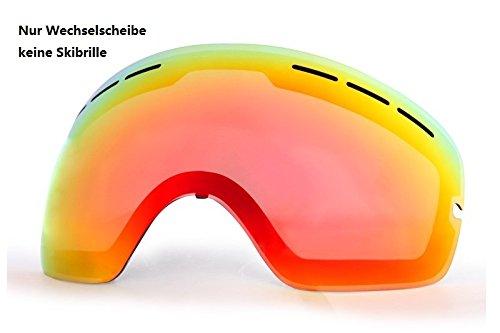 Skibrille Snowboardbrille Goggle voll verspiegelt Antifog mit Wechselglas Etui (Rot Wechselscheibe)