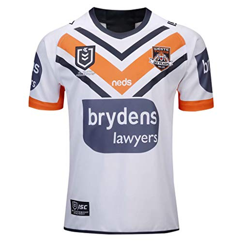 Tiger-Ärmelloses Jersey (Yujingc WESTS Tigers Rugby Jersey Herren Leicester Tigers Pro Kurzarm Rugby T-Shirts Edition Swag Sport Fußball Trainingsanzüge Atmungsaktives Sweatshirt,White,S)